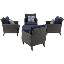 Savannah 5PC Chat Set in Navy Blue - SAV-5PC-NVY