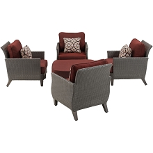 Savannah 5PC Chat Set in Crimson Red - SAV-5PC-RED