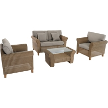 Sea Breeze 4PC Wicker Seating Set - SEABREEZE4PC-GRY