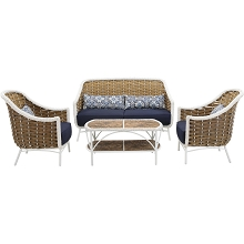 Mod Seaside 4-Piece Patio Furniture Set in Navy Blue - Outdoor Chairs with Wicker Wraps & Coffee Table, SEASIDE4PC-NVY