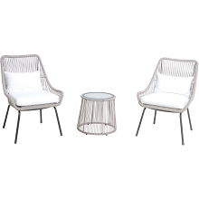 Mod Furniture Shae 3-Piece Modern Boho Outdoor Bistro Set with Hand-Woven Wicker Chairs with White Cushions and Glass Top Side Table, SHAE3PC-WHT