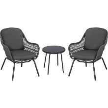 Mod Skylar 3-Piece Outdoor Bistro Chat Set with 2 Rope Chairs, Grey Cushions, and Black Painted Glass Top Side Table, SKY3PC-GRY