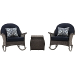 San Marino 3PC Rocking Chat Set in Navy Blue - SMAR-3PC-NVY