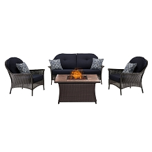 San Marino 4PC Fire Pit Lounge Set with Tan Porcelain Tile Top in Navy Blue - SMAR4PCFP-NVY-TN