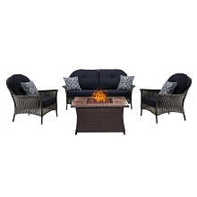 San Marino 4PC Fire Pit Lounge Set with Woodgrain Tile Top in Navy Blue - SMAR4PCFP-NVY-WG