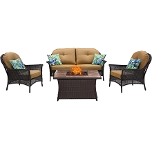 San Marino 4PC Fire Pit Lounge Set with Tan Porcelain Tile Top in Country Cork - SMAR4PCFP-TAN-TN