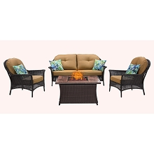 San Marino 4PC Fire Pit Lounge Set with Wood Grain Tile Top in Country Cork - SMAR4PCFP-TAN-WG