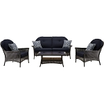 San Marino 4PC Seating Set in Navy Blue - SMAR-4PC-NVY