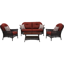 San Marino 4PC Seating Set in Crimson Red - SMAR-4PC-RED