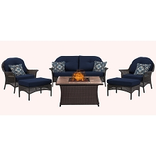 San Marino 6PC Fire Pit Lounge Set with Tan Porcelain Tile Top in Navy Blue - SMAR6PCFP-NVY-TN