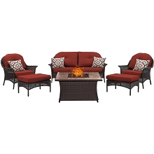 San Marino 6PC Fire Pit Lounge Set with Tan Porcelain Tile Top in Crimson Red - SMAR6PCFP-RED-TN