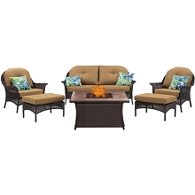 San Marino 6PC Fire Pit Lounge Set with Wood Grain Tile Top in Country Cork - SMAR6PCFP-TAN-WG