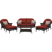 San Marino 6PC Seating Set in Crimson Red - SMAR-6PC-RED