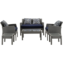 Mod Furniture Sophie 6-Piece Space-Saving Patio Set in Navy, SOPH6PC-NVY