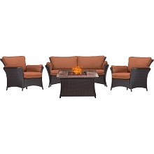 Strathmere Allure 4PC Lounge Set with 40,000 BTU Fire Pit Table- STRALLR4PCFP-RST-WG