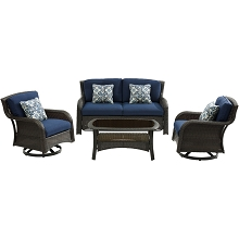 Hanover Strathmere 4-Piece Lounge Set in Navy Blue - STRATH4PCSW-LS-NVY