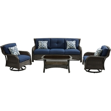 Hanover Strathmere 4-Piece Lounge Set in Navy Blue - STRATH4PCSW-S-NVY