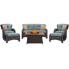 Strathmere 6PC Lounge Set In Ocean Blue with Stone-top Fire Pit Table - STRATH6PCFP-BLU-TN