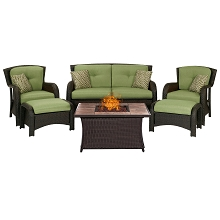 Strathmere 6PC Lounge Set In Cilantro Green with Tile-top Fire Pit Table - STRATH6PCFP-GRN-TN