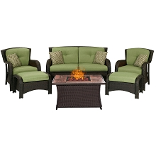 Strathmere 6PC Lounge Set In Cilantro Green with Tile-top Fire Pit - STRATH6PCFP-GRN-WG