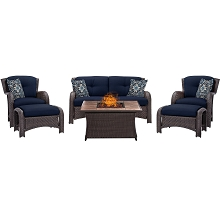 Strathmere 6PC Lounge Set in Navy Blue with Stone-top Fire Pit - STRATH6PCFP-NVY-TN