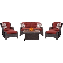 Strathmere 6PC Lounge Set In Crimson Red with Tile-top Fire Pit Table - STRATH6PCFP-RED-WG