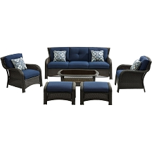 Hanover Strathmere 6-Piece Lounge Set in Navy Blue - STRATH6PC-S-NVY