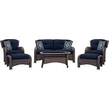 Strathmere 6PC Seating Set in Navy Blue - STRATHMERE6PCNVY