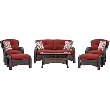 Strathmere 6PC Seating Set in Crimson Red - STRATHMERE6PCRED