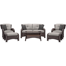 Strathmere 6PC Seating Set in Silver Lining - STRATHMERE6PCSLV