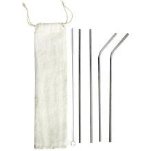 Stainless Steel Straws Pack of 4 with BONUS Brush Cleaner and Bag