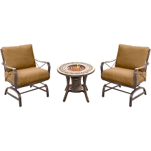 Summer Nights 3PC Fire Pit Chat Set with 2 Rockers and a Fire Pit Side Table -SUMRNGT3PC-URN