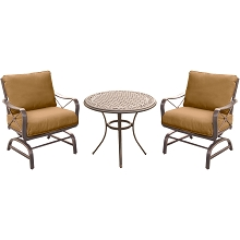 Summer Nights 3PC Dining Set with 2 Cushioned Rockers and a 32 In. Cast-top Table - SUMRNGTDN3PCCSTAL