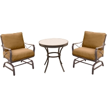 Summer Nights 3PC Dining Set with 2 Cushioned Rockers and a 30 In. Glass-top Table - SUMRNGTDN3PCG