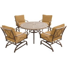 Summer Nights 5PC Dining Set with 4 Rockers and a 48 In. Cast-top Table - SUMRNGTDN5PCCST