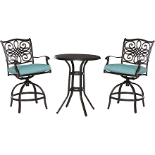 Hanover Traditions 3-Piece High-Dining Bistro Set in Blue- TRAD3PCSWBR-BLU