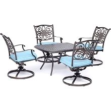 Hanover Traditions 5-Piece Patio Set in Blue with Four Swivel Rockers and a 32