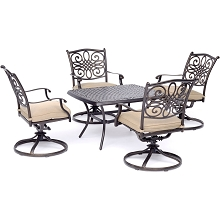 Hanover Traditions 5-Piece Patio Set in Tan with Four Swivel Rockers and a 32