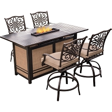 Hanover Traditions 5-Piece High-Dining Set in Tan with 4 Swivel Chairs and a 30,000 BTU Fire Pit Dining Table - TRAD5PCFPBR