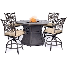 Hanover Traditions 5-Piece High-Dining Set in Tan with 4 Swivel Chairs and a 40,000 BTU Cast-top Fire Pit Table - TRAD5PCFPRD-BR