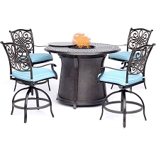 Hanover Traditions 5-Piece High-Dining Set in Blue with 4 Swivel Chairs and a 40,000 BTU Cast-top Fire Pit Table - TRAD5PCFPRD-BR-B