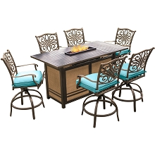 Hanover Traditions 7-Piece High-Dining Set in Blue with 30,000 BTU Fire Pit Table - TRAD7PCFPBR-BLU
