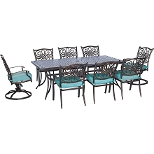Traditions 9PC Dining Set in Blue with 6 Dining Chairs, 2 Swivel Rockers, and XL Cast-top Table - TRAD9PCSW2-BLU