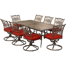 Hanover Traditions 9-Piece Dining Set in Red with 8 Swivel Rockers and a 84