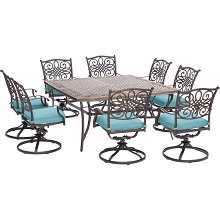 Traditions 9PC Dining Set in Blue with 8 Swivel Rockers and a 60 in. Square Table- TRAD9PCSWSQ8-BLU