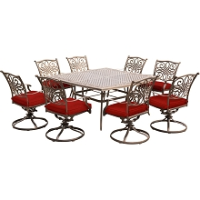 Hanover Traditions 9-Piece Dining Set in Red with Eight Swivel Rockers and a Large 60 In. Cast-top Square Table - TRAD9PCSWSQ8-RED
