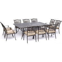 Hanover Traditions 11-Piece Dining Set in Tan with Ten Stationary Dining Chairs and an Extra-Long Dining Table - TRADDN11PC