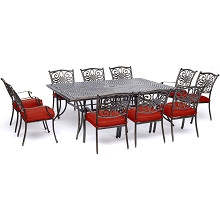 Hanover Traditions 11-Piece Dining Set in Red with Ten Stationary Dining Chairs and an Extra-Long Dining Table - TRADDN11PC-RED