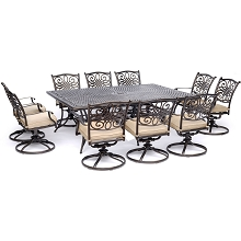 Hanover Traditions 11-Piece Dining Set in Tan with Ten Swivel Rockers and an Extra-Long Dining Table - TRADDN11PCSW10