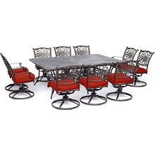 Hanover Traditions 11-Piece Dining Set in Red with Ten Swivel Rockers and an Extra-Long Dining Table - TRADDN11PCSW10-RED